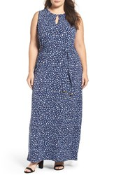 Michael Michael Kors Plus Size Women's Clara Belted Keyhole Maxi Dress