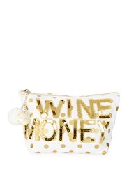 Bow And Drape Wine Money Sequined Dotted Canvas Pouch Gold