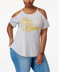 American Rag Trendy Plus Size Sun Kiss Cold Shoulder T Shirt Only At Macy's Egret Combo