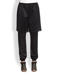 A Detacher Layered Mesh Jogger Pants Black