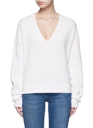 Helmut Lang Belted V Neck Cotton Cashmere Sweater White