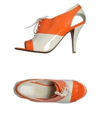 Michel Perry Lace Up Shoes Orange