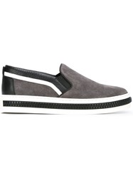 Sergio Rossi Striped Colour Block Sneakers Grey
