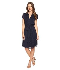 Christin Michaels Liaden Shirtdress Navy White Women's Dress Blue