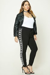 Forever 21 Plus Size Numeral Sweatpants Black White