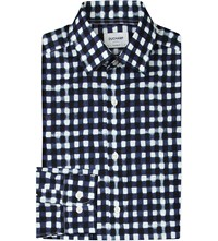 Duchamp Checked Tailored Fit Cotton Shirt Blue