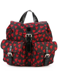 Red Valentino Heart Print Flap Backpack Women Polyester One Size Black