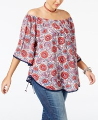 American Rag Trendy Plus Size Off The Shoulder Peasant Top Only At Macy's Egret Combo