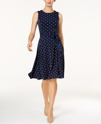 Charter Club Petite Dot Print Fit And Flare Dress Created For Macy's Intrepid Blue Combo