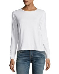 J Brand Crete Long Button Sleeve Tee White