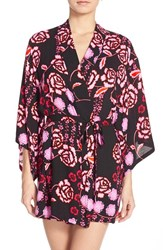 Women's Josie 'Lovely Roses' Happi Coat Robe Black Pink