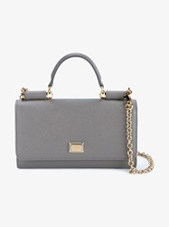 Dolce And Gabbana Grained Leather Handbag Grey Denim White Black