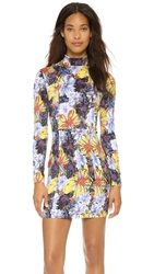 Suno Fitted Mock Neck Mini Dress Firework Floral