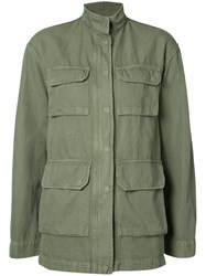 Nili Lotan Relaxed Fit Military Jacket Women Cotton Linen Flax Xs Green