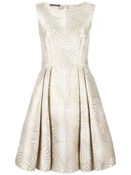 Alberta Ferretti Flared Jacquard Dress Nude Neutrals