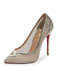 Christian Louboutin Neoalto Mesh 100Mm Red Sole Pump Gold Version Gold