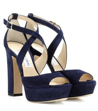Jimmy Choo April 120 Suede Sandals Blue