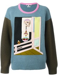 Olympia Le Tan Skeleton Embroidered Jumper Blue