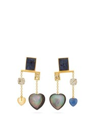 Lizzie Fortunato Lucky Mismatched Gemstones Gold Plated Earrings Blue