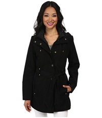 Nautica Hooded Zip Front Layered Jacket Black Black Women's Coat