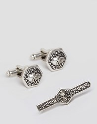 Asos Gift Set With Skull Tie Bar And Cufflinks Silver