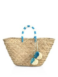 Kayu St. Tropez Woven Seagrass Tote Natural Turquoise