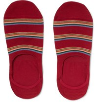Paul Smith Striped Mercerised Stretch Cotton Blend No Show Socks Red