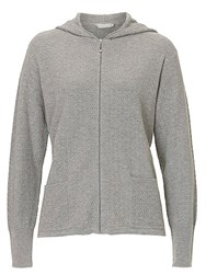 Betty Barclay And Co. Textured Hooded Cardigan Silver Melange
