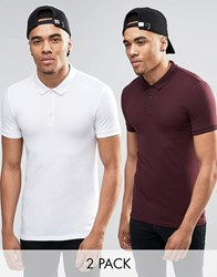 Asos Extreme Muscle Jersey Polo 2 Pack White Burgundy Save 15 Whiteburgundy
