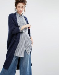 Willow And Paige Maxi Cable Knit Cardigan Navy