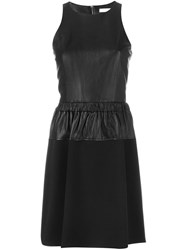 Michael Michael Kors Leather Panel Flared Dress Black