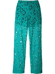Msgm Semi Sheer Lace Trousers Green