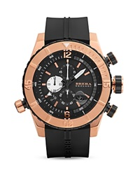 Brera Orologi Sottomarino Diver 14K Rose Gold And Black Ionic Plated Stainless Steel Watch With Black Rubber Strap 48Mm