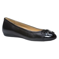 Geox Lola Flat Bow Detail Ballerina Pumps Black Leather
