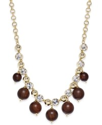 Kate Spade New York Gold Tone Wood Bead And Crystal Statement Necklace