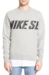 Men's Nike Sb 'Everett Motion' French Terry Crewneck Sweatshirt Drk Grey Heather Black