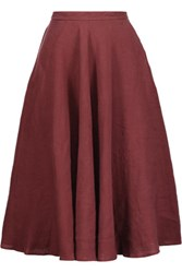 Tomas Maier Pleated Linen Skirt Burgundy