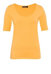 Hallhuber T Shirt With Plunging Round Neckline Honey