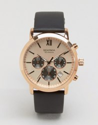 Sekonda Chronograph Brown Leather Watch With Gold Dial Exclusive To Asos Brown