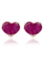 Shay Heart 18Kt Gold Stud Earrings Red