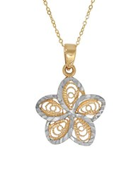 Lord And Taylor 14K Pdc Yellow Gold Rhodium Filigree Floral Pendant Necklace