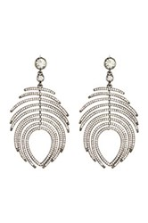 Free Press Pave Hinged Feather Chandelier Earrings Multi