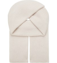 Johnstons Ribbed Cashmere Scarf Cameo