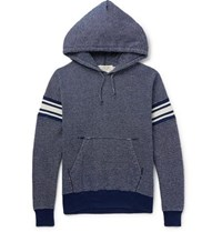 Remi Relief Striped Loopback Cotton Hoodie Blue