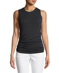 Halston Ruched Side Pullover Tank Top Black