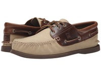Sperry A O 3 Eye Padded Collar Duck Cloth Brown Men's Lace Up Casual Shoes