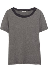 Clu Silk Chiffon Trimmed Cotton Jersey T Shirt Gray