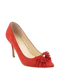 Ivanka Trump Tassel Fringe Point Toe Pumps Red