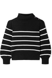 Co Button Detailed Striped Wool And Cashmere Blend Sweater Black