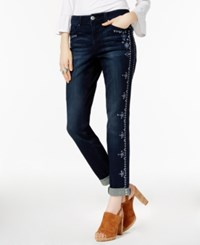 Inc International Concepts I.N.C. Petite Embroidered Indigo Wash Boyfriend Jeans Created For Macy's